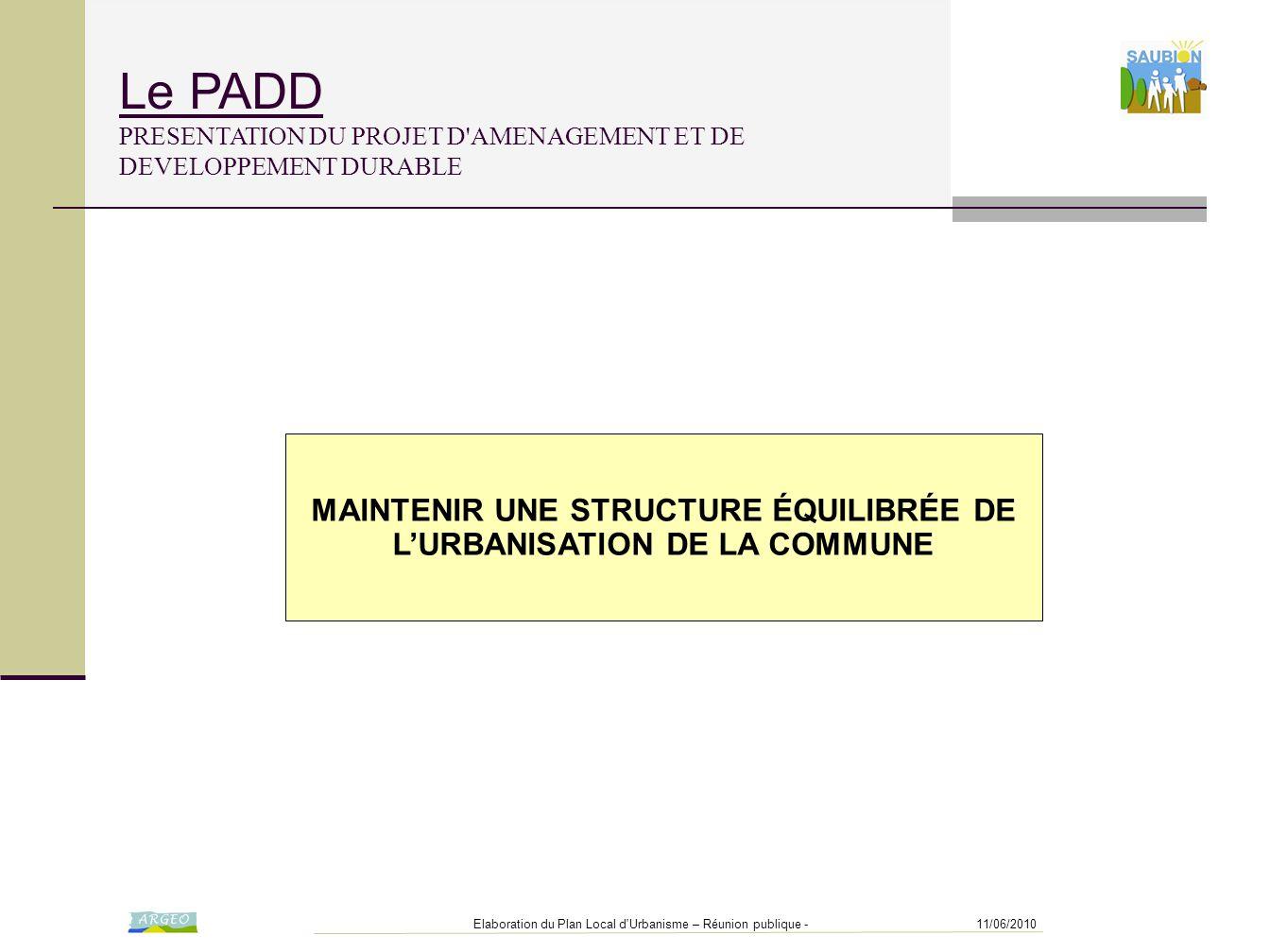 11/06/2010Elaboration du Plan Local d'Urbanisme – Réunion publique - MAINTENIR UNE STRUCTURE ÉQUILIBRÉE DE L'URBANISATION DE LA COMMUNE Le PADD PRESEN
