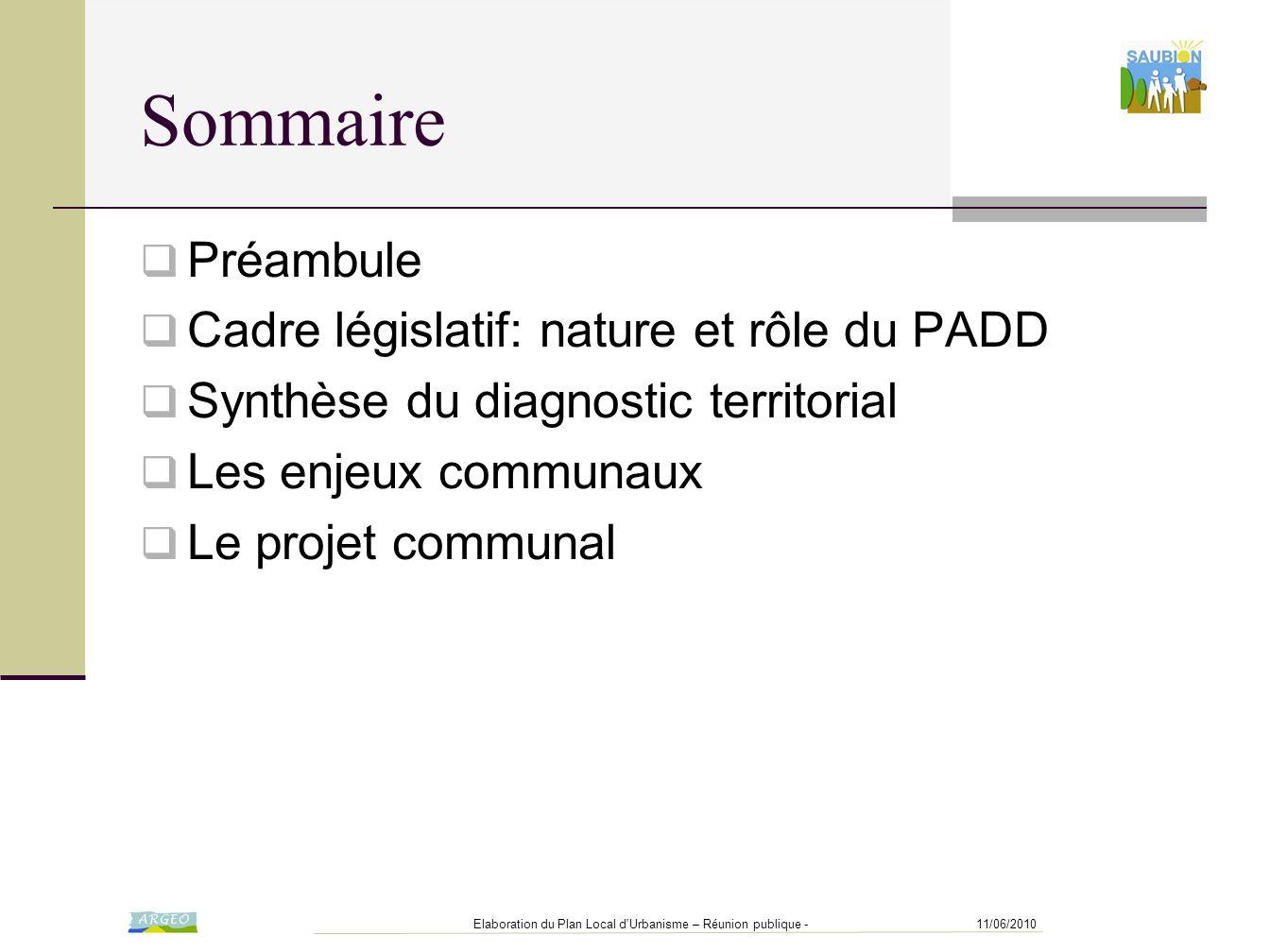 11/06/2010Elaboration du Plan Local d'Urbanisme – Réunion publique - Sommaire  Préambule  Cadre législatif: nature et rôle du PADD  Synthèse du dia