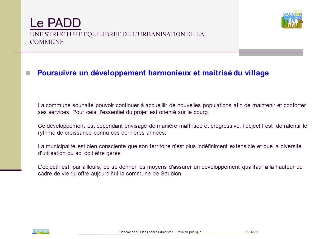 11/06/2010Elaboration du Plan Local d'Urbanisme – Réunion publique - Le PADD UNE STRUCTURE EQUILIBREE DE L'URBANISATION DE LA COMMUNE La commune souha
