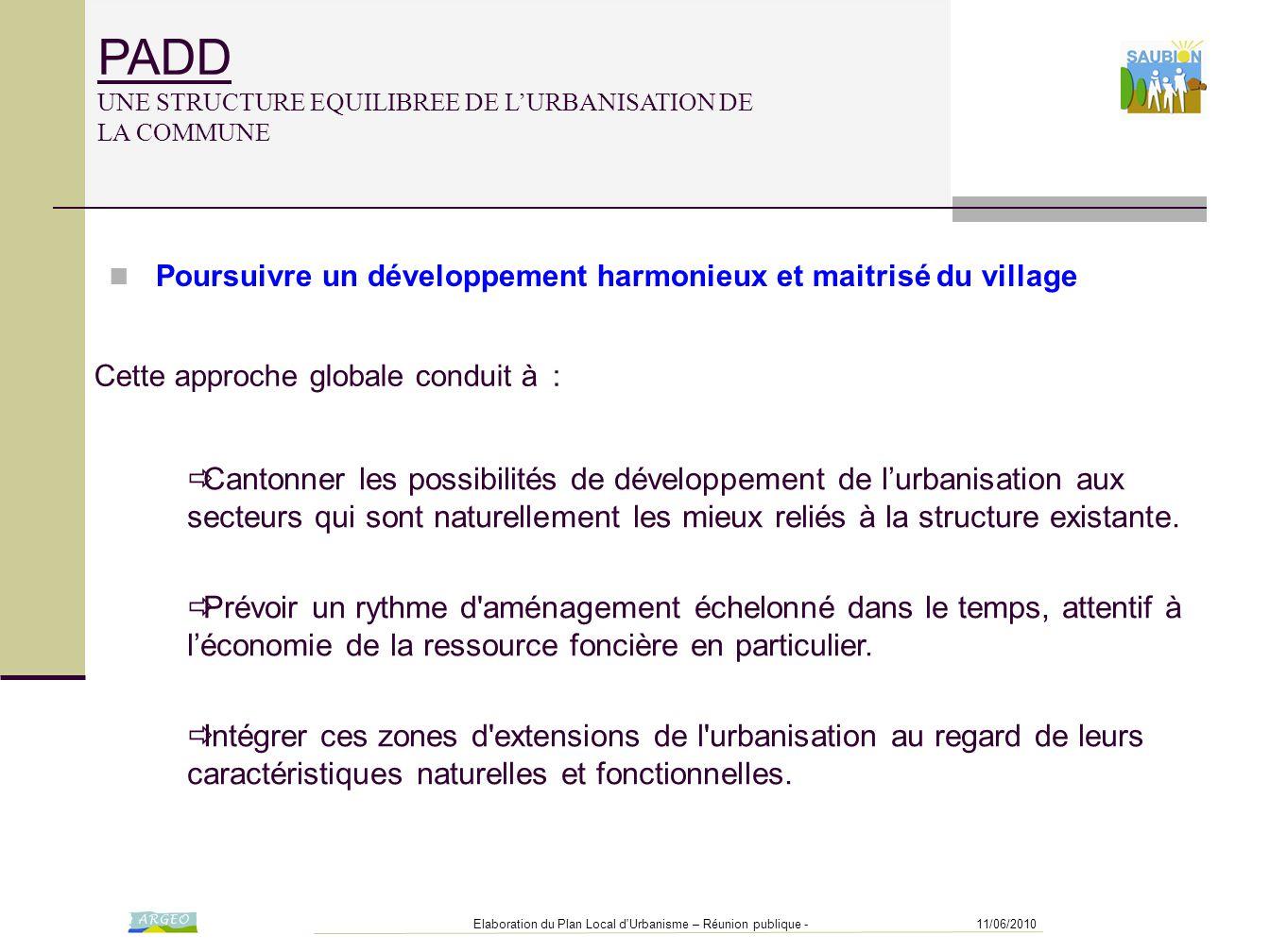 11/06/2010Elaboration du Plan Local d'Urbanisme – Réunion publique - PADD UNE STRUCTURE EQUILIBREE DE L'URBANISATION DE LA COMMUNE Cette approche glob