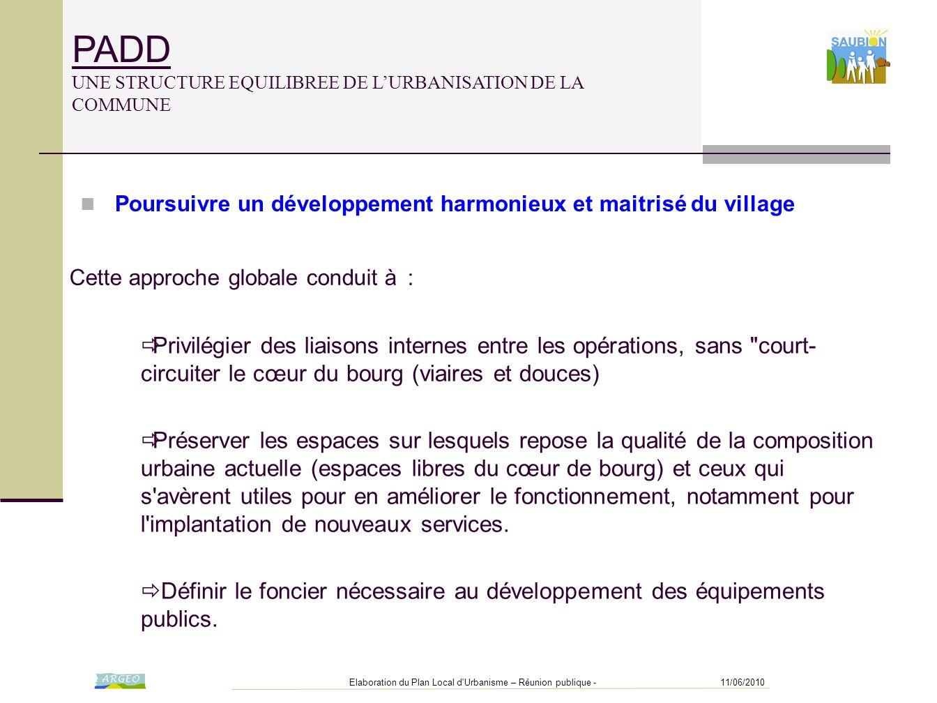 11/06/2010Elaboration du Plan Local d'Urbanisme – Réunion publique - PADD UNE STRUCTURE EQUILIBREE DE L'URBANISATION DE LA COMMUNE  Privilégier des l