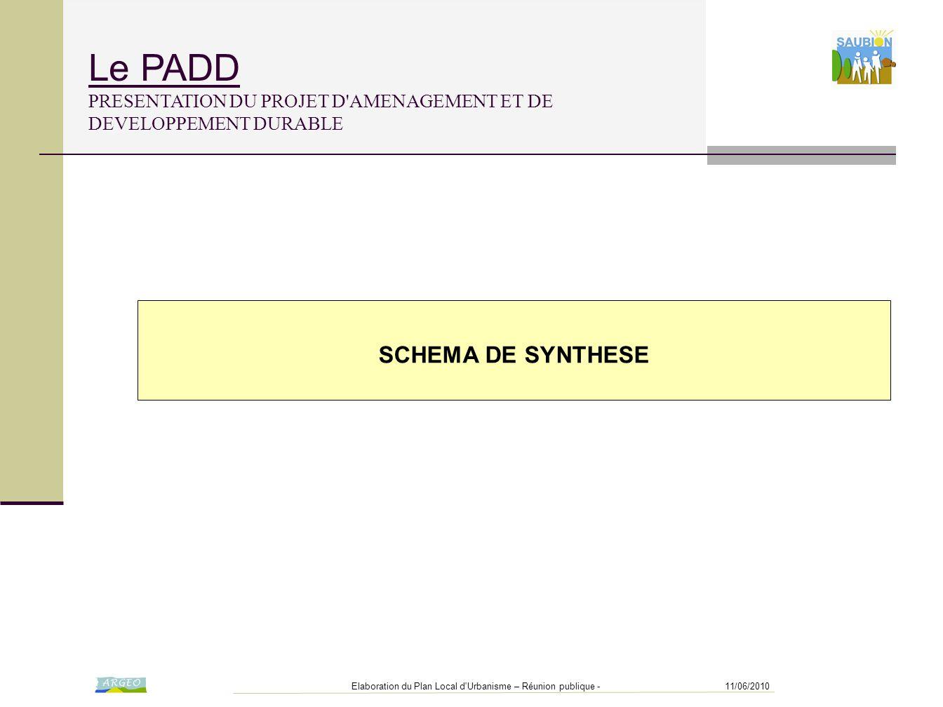 11/06/2010Elaboration du Plan Local d'Urbanisme – Réunion publique - SCHEMA DE SYNTHESE Le PADD PRESENTATION DU PROJET D'AMENAGEMENT ET DE DEVELOPPEME