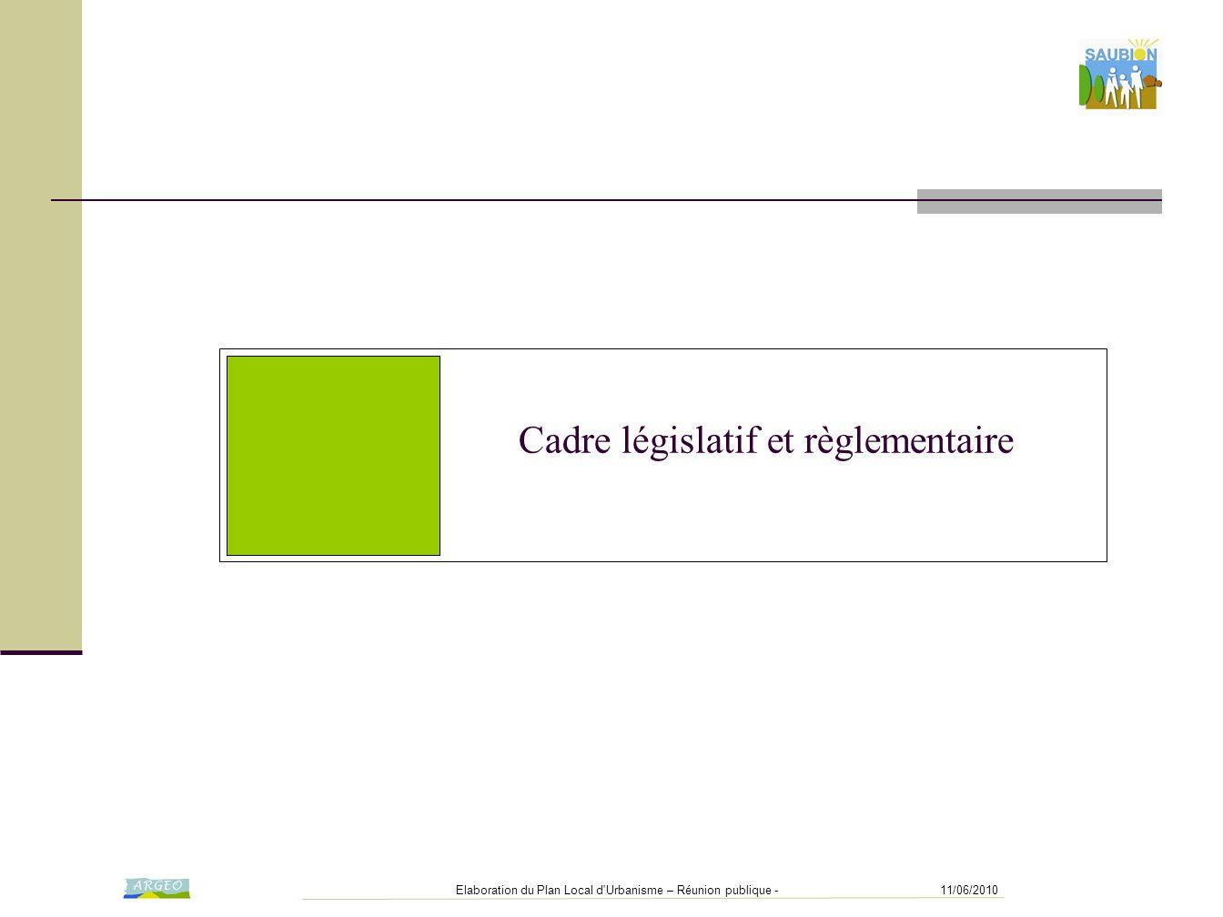 11/06/2010Elaboration du Plan Local d Urbanisme – Réunion publique - Cadre législatif et règlementaire