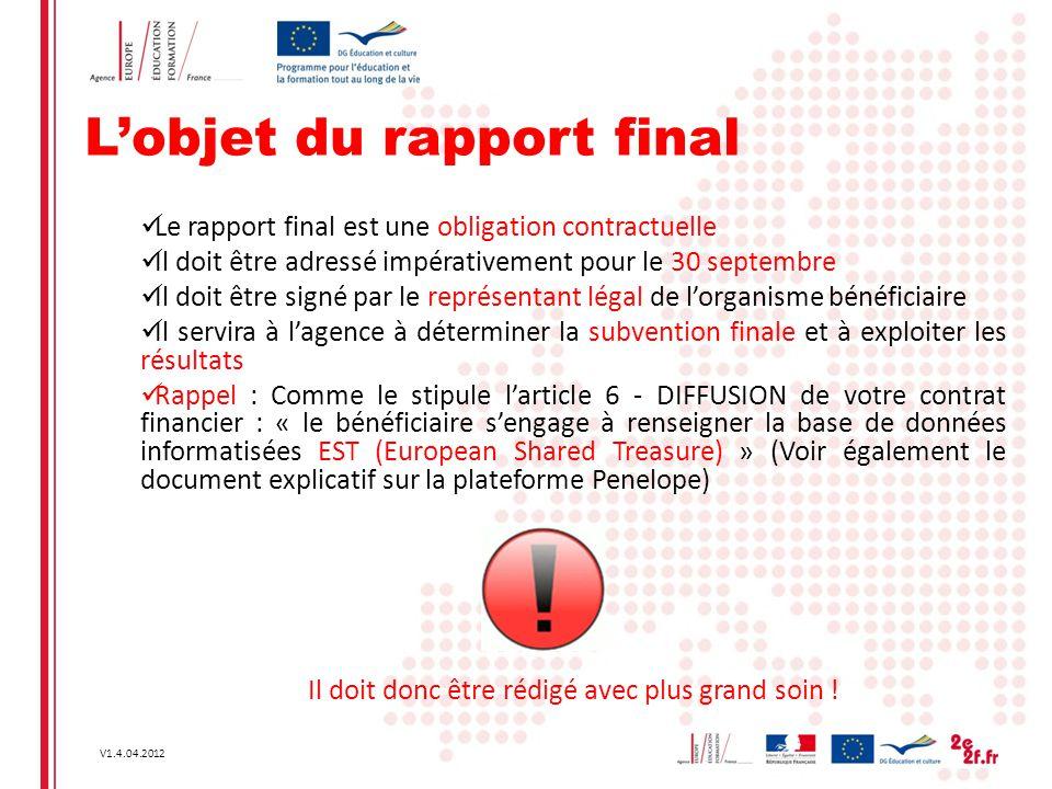 V1.4.04.2012 L'objet du rapport final Le rapport final est une obligation contractuelle Il doit être adressé impérativement pour le 30 septembre Il do
