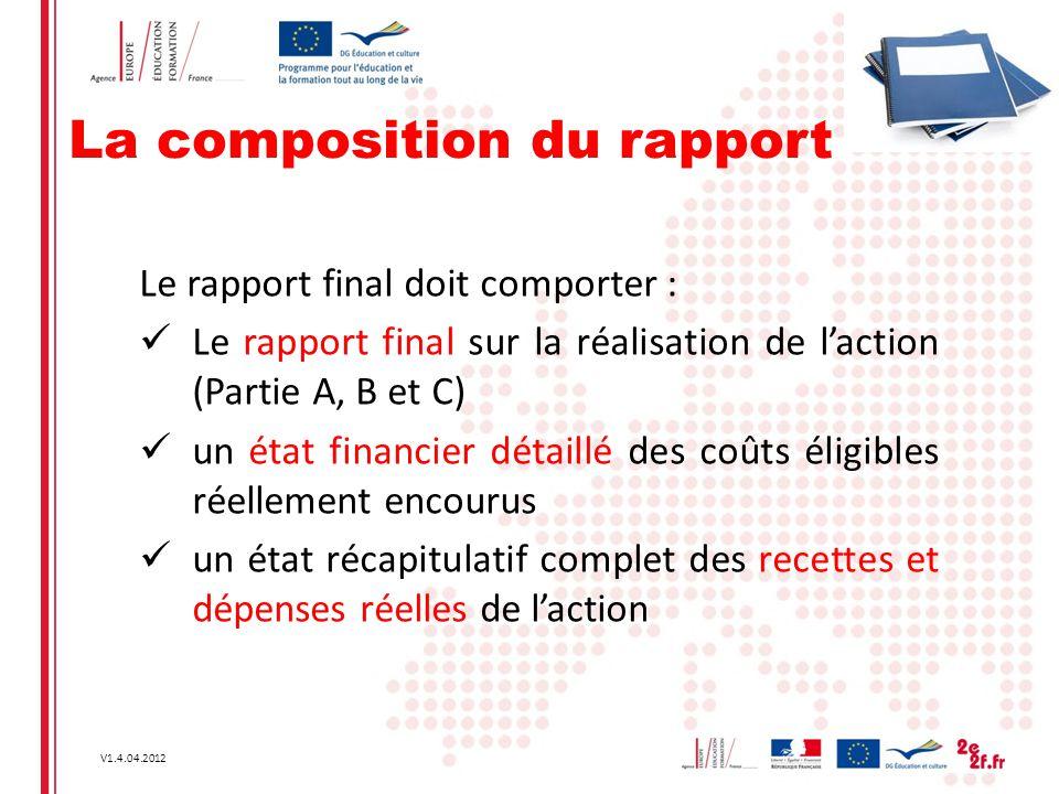 V1.4.04.2012 La composition du rapport Le rapport final doit comporter : Le rapport final sur la réalisation de l'action (Partie A, B et C) un état fi