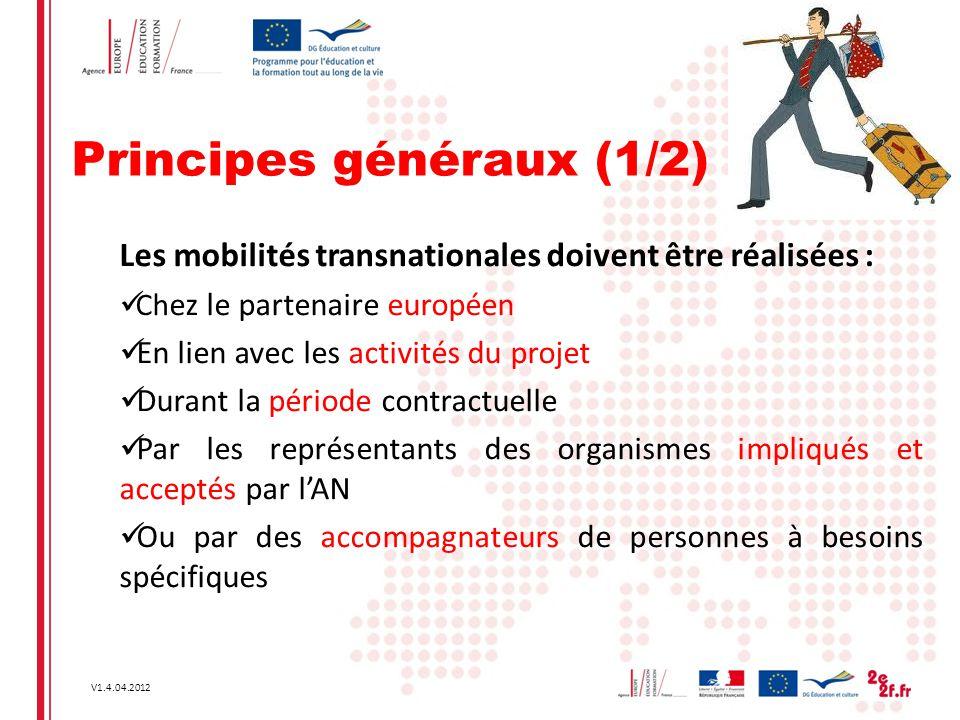 V1.4.04.2012 Principes généraux (1/2) Les mobilités transnationales doivent être réalisées : Ch ez le partenaire européen En lien avec les activités d