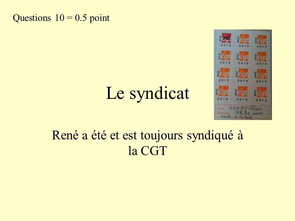 Le syndicat René a été et est toujours syndiqué à la CGT Questions 10 = 0.5 point