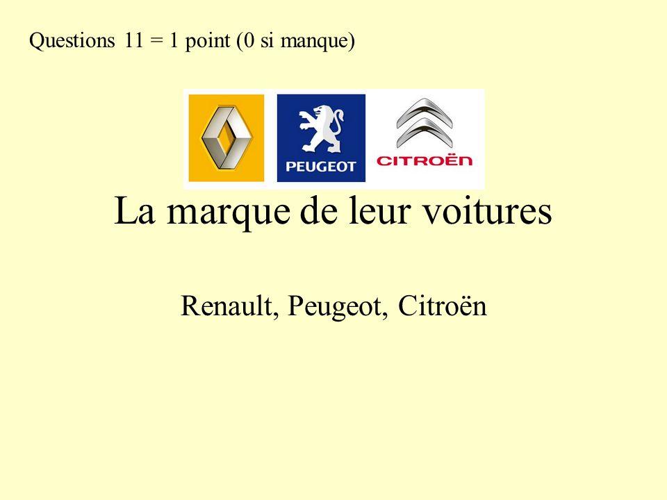 La marque de leur voitures Renault, Peugeot, Citroën Questions 11 = 1 point (0 si manque)
