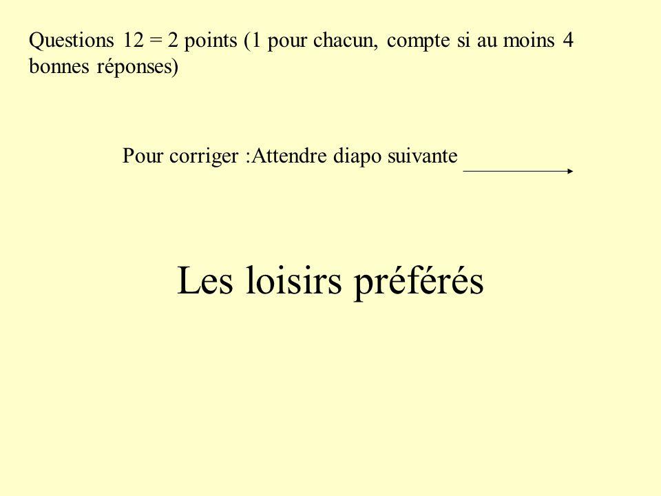Les loisirs préférés Questions 12 = 2 points (1 pour chacun, compte si au moins 4 bonnes réponses) Pour corriger :Attendre diapo suivante