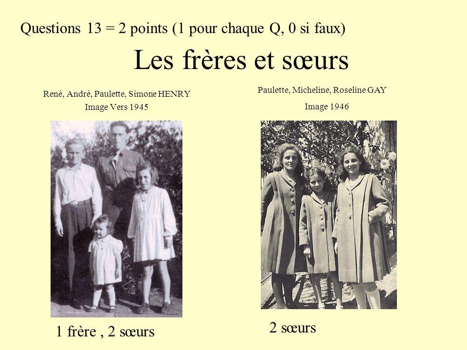 Les frères et sœurs René, André, Paulette, Simone HENRY Image Vers 1945 Paulette, Micheline, Roseline GAY Image 1946 Questions 13 = 2 points (1 pour c