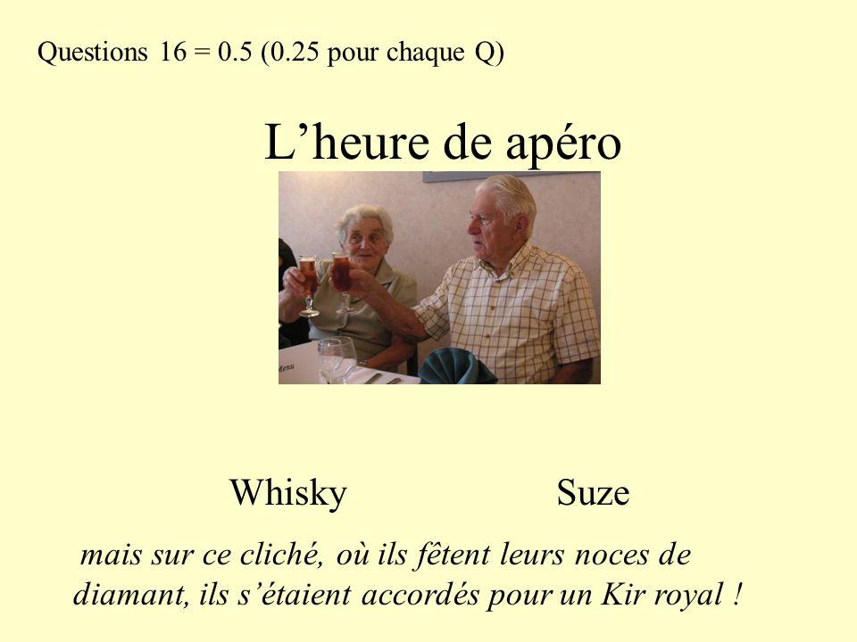 L'heure de apéro Whisky Suze Questions 16 = 0.5 (0.25 pour chaque Q) mais sur ce cliché, où ils fêtent leurs noces de diamant, ils s'étaient accordés