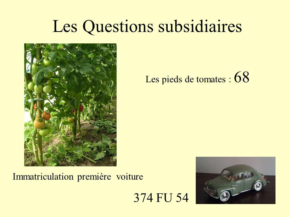 Les Questions subsidiaires Les pieds de tomates : 68 374 FU 54 Immatriculation première voiture
