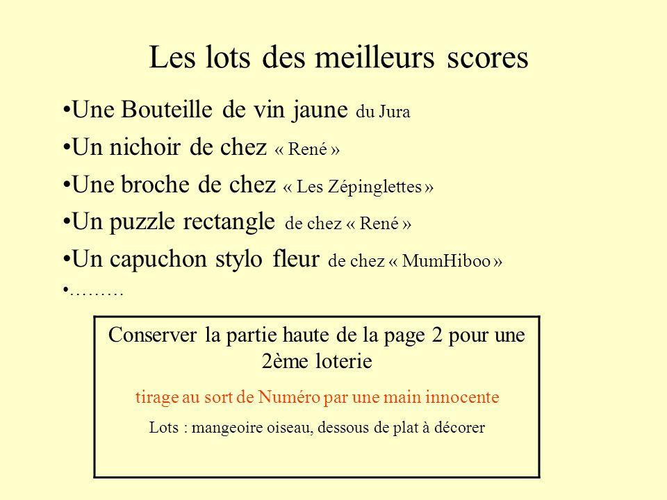 Les lots des meilleurs scores Une Bouteille de vin jaune du Jura Un nichoir de chez « René » Une broche de chez « Les Zépinglettes » Un puzzle rectang