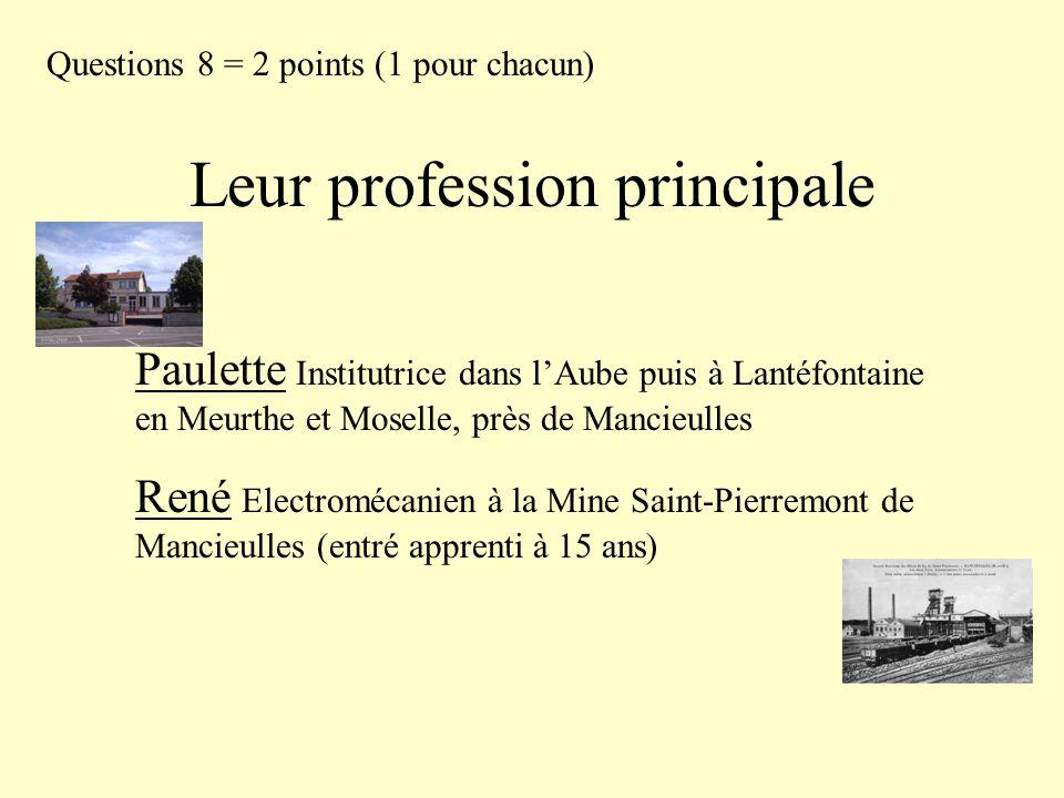 Leur profession principale Questions 8 = 2 points (1 pour chacun) Paulette Institutrice dans l'Aube puis à Lantéfontaine en Meurthe et Moselle, près d