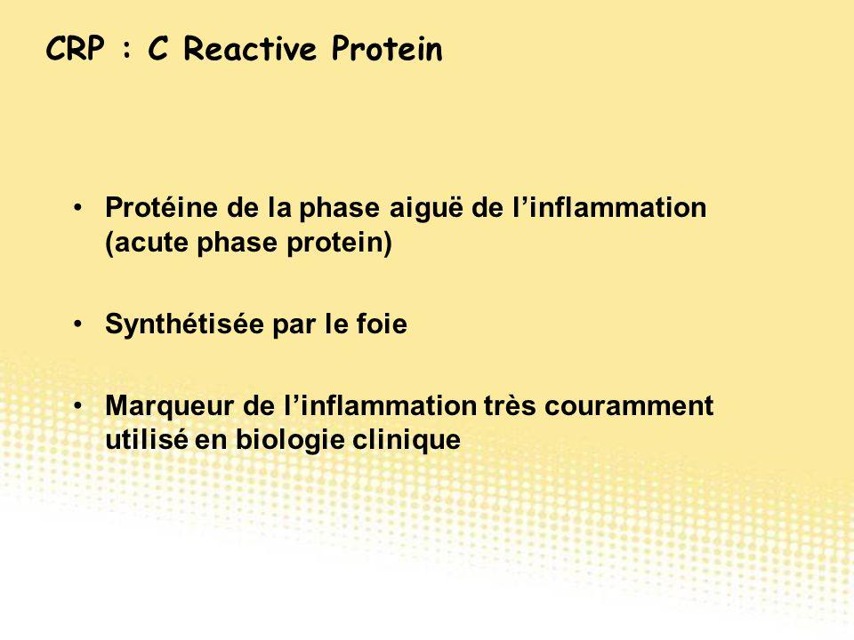 Protéine de la phase aiguë de l'inflammation (acute phase protein) Synthétisée par le foie Marqueur de l'inflammation très couramment utilisé en biolo