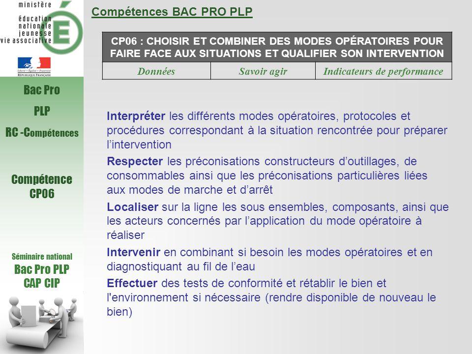 Compétences BAC PRO PLP CP06 : CHOISIR ET COMBINER DES MODES OPÉRATOIRES POUR FAIRE FACE AUX SITUATIONS ET QUALIFIER SON INTERVENTION DonnéesSavoir agirIndicateurs de performance Interpréter les différents modes opératoires, protocoles et procédures correspondant à la situation rencontrée pour préparer l'intervention Respecter les préconisations constructeurs d'outillages, de consommables ainsi que les préconisations particulières liées aux modes de marche et d'arrêt Localiser sur la ligne les sous ensembles, composants, ainsi que les acteurs concernés par l'application du mode opératoire à réaliser Intervenir en combinant si besoin les modes opératoires et en diagnostiquant au fil de l'eau Effectuer des tests de conformité et rétablir le bien et l environnement si nécessaire (rendre disponible de nouveau le bien) Séminaire national Bac Pro PLP CAP CIP Bac Pro PLP RC -C ompétences Compétence CP06