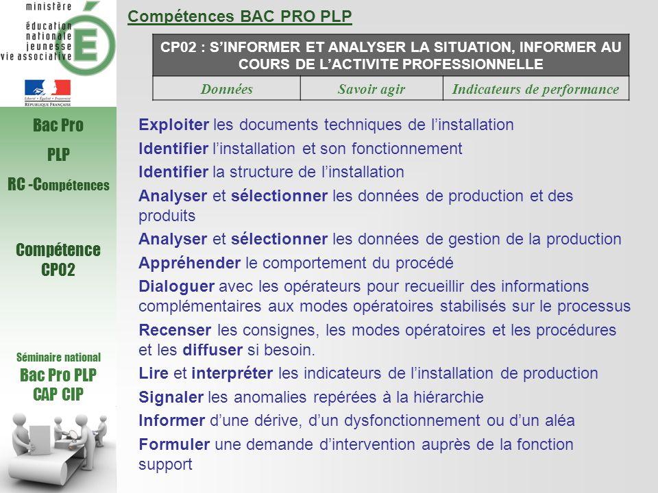 Compétences BAC PRO PLP CP02 : S'INFORMER ET ANALYSER LA SITUATION, INFORMER AU COURS DE L'ACTIVITE PROFESSIONNELLE DonnéesSavoir agirIndicateurs de performance Exploiter les documents techniques de l'installation Identifier l'installation et son fonctionnement Identifier la structure de l'installation Analyser et sélectionner les données de production et des produits Analyser et sélectionner les données de gestion de la production Appréhender le comportement du procédé Dialoguer avec les opérateurs pour recueillir des informations complémentaires aux modes opératoires stabilisés sur le processus Recenser les consignes, les modes opératoires et les procédures et les diffuser si besoin.