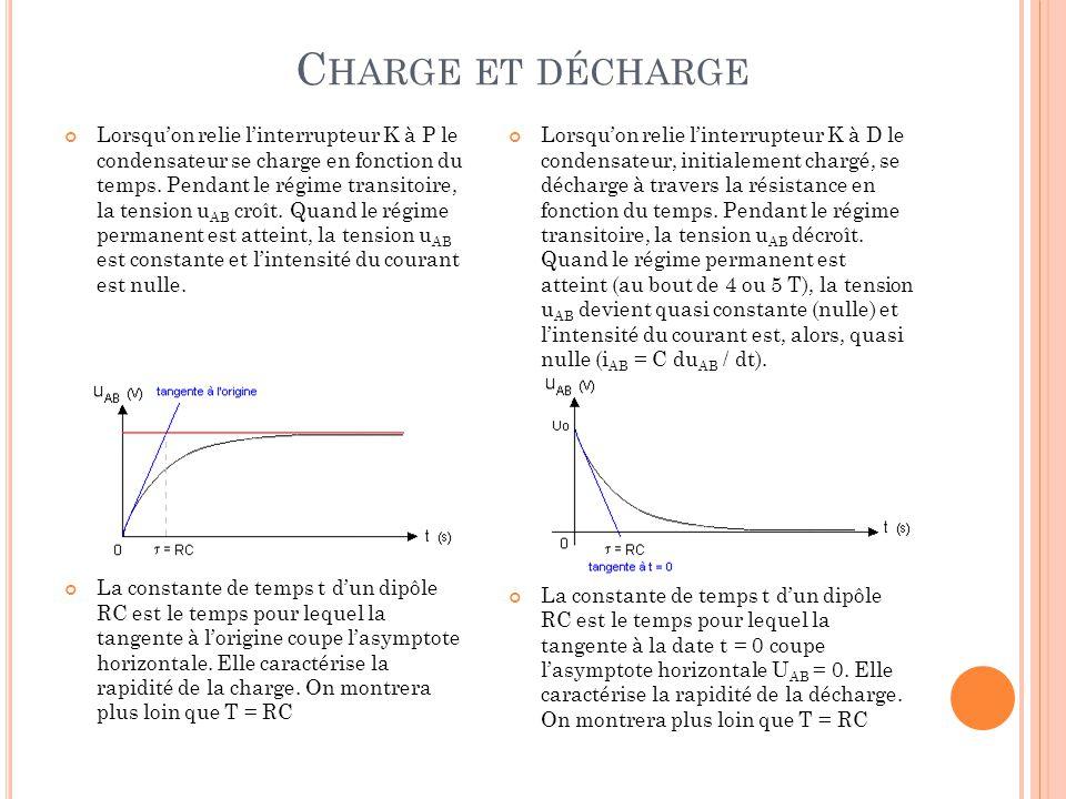 C HARGE ET DÉCHARGE Lorsqu'on relie l'interrupteur K à P le condensateur se charge en fonction du temps. Pendant le régime transitoire, la tension u A