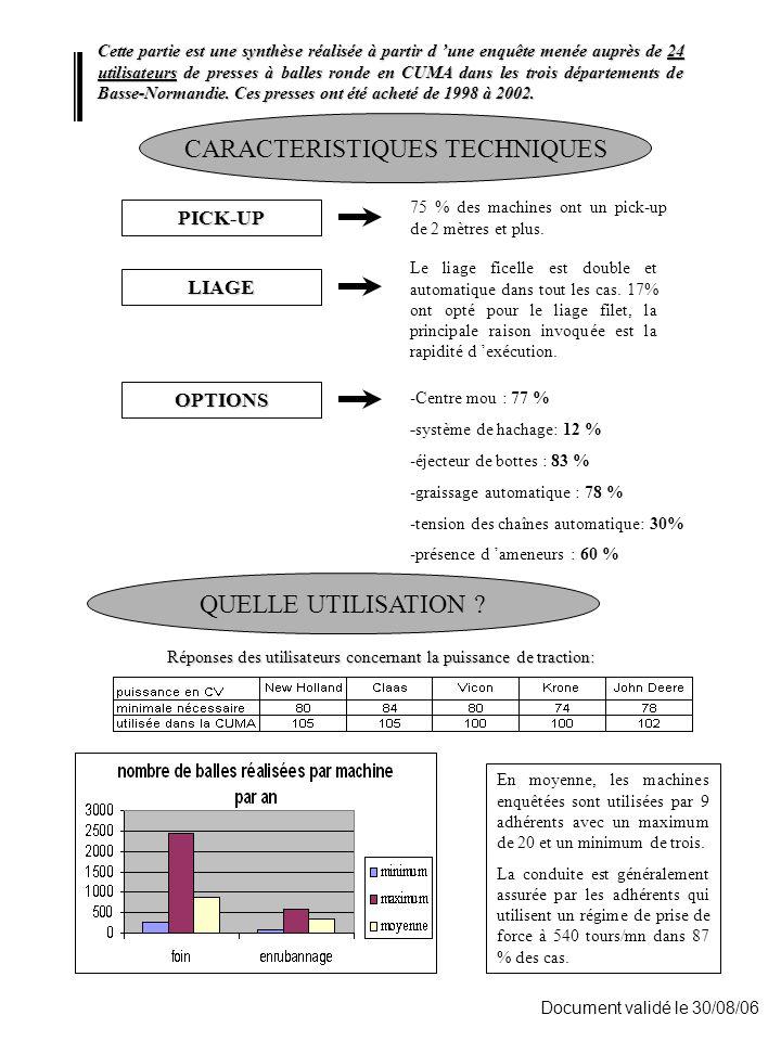 Document validé le 30/08/06 AVIS D 'UTILISATEURS Pour cette partie, les avis des 24 utilisateurs de basse-Normandie ont été complété par les avis de 90 autres utilisateurs des mêmes machines de la région Ouest.