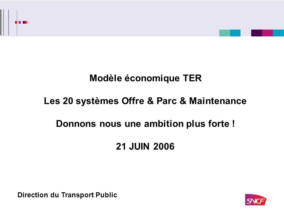 Modèle économique TER Les 20 systèmes Offre & Parc & Maintenance Donnons nous une ambition plus forte ! 21 JUIN 2006 Direction du Transport Public