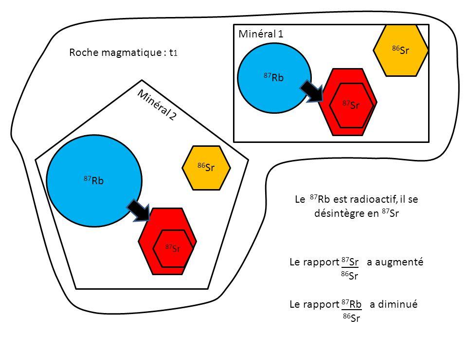 87 Rb 87 Sr Roche magmatique : t 2, ( temps actuel) Minéral 1 Minéral 2 86 Sr Le rapport 87 Sr a augmenté 86 Sr Le rapport 87 Rb a diminué 86 Sr Le 87 Rb est radioactif, il se désintègre en 87 Sr