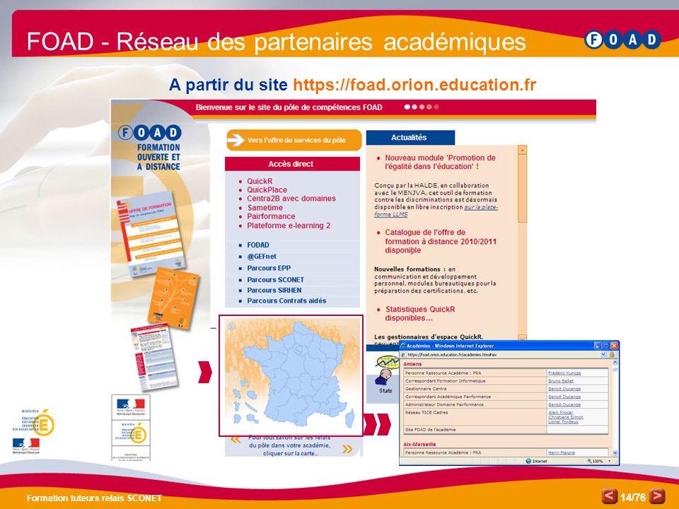 /76 Formation tuteurs relais SCONET 14 A partir du site https://foad.orion.education.fr FOAD - Réseau des partenaires académiques