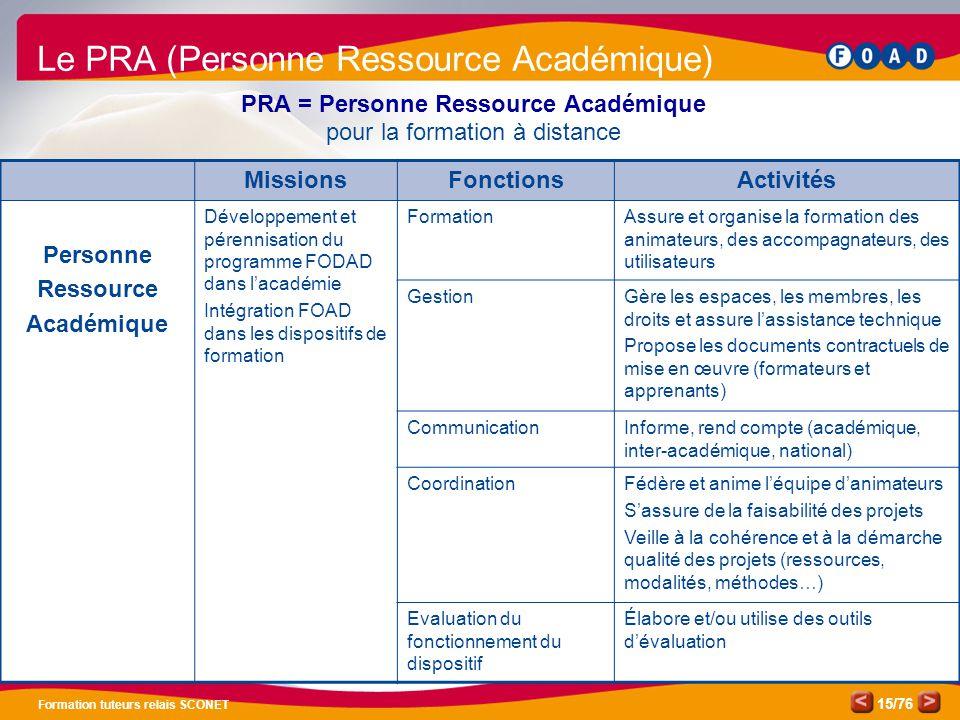 /76 Formation tuteurs relais SCONET 15 Le PRA (Personne Ressource Académique) PRA = Personne Ressource Académique pour la formation à distance Mission