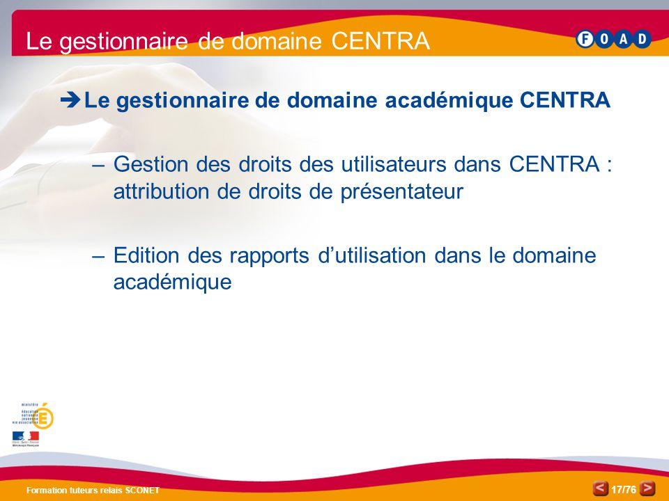 /76 Formation tuteurs relais SCONET 17  Le gestionnaire de domaine académique CENTRA –Gestion des droits des utilisateurs dans CENTRA : attribution d