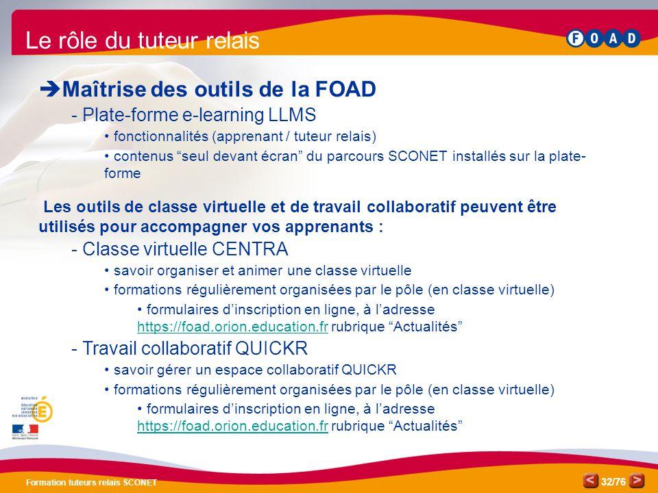/76 Formation tuteurs relais SCONET 32 Le rôle du tuteur relais  Maîtrise des outils de la FOAD - Plate-forme e-learning LLMS fonctionnalités (appren