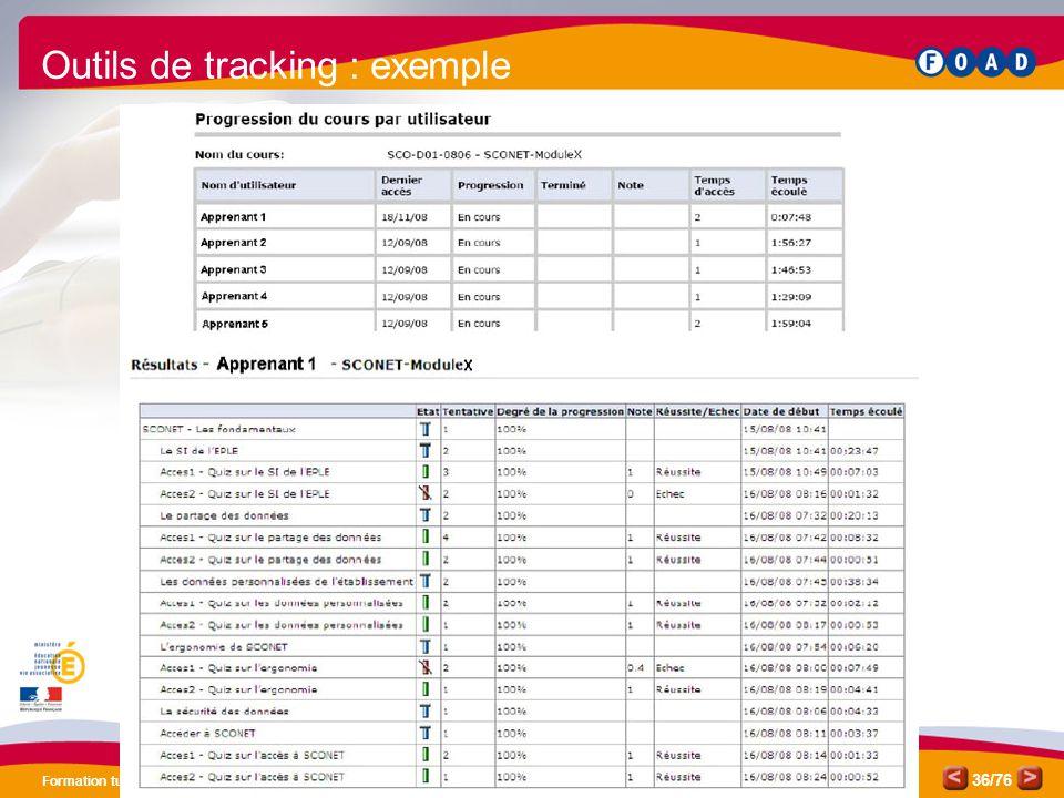 /76 Formation tuteurs relais SCONET 36 Outils de tracking : exemple
