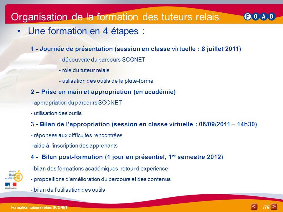 /76 Formation tuteurs relais SCONET 1 - Journée de présentation (session en classe virtuelle : 8 juillet 2011) - découverte du parcours SCONET - rôle