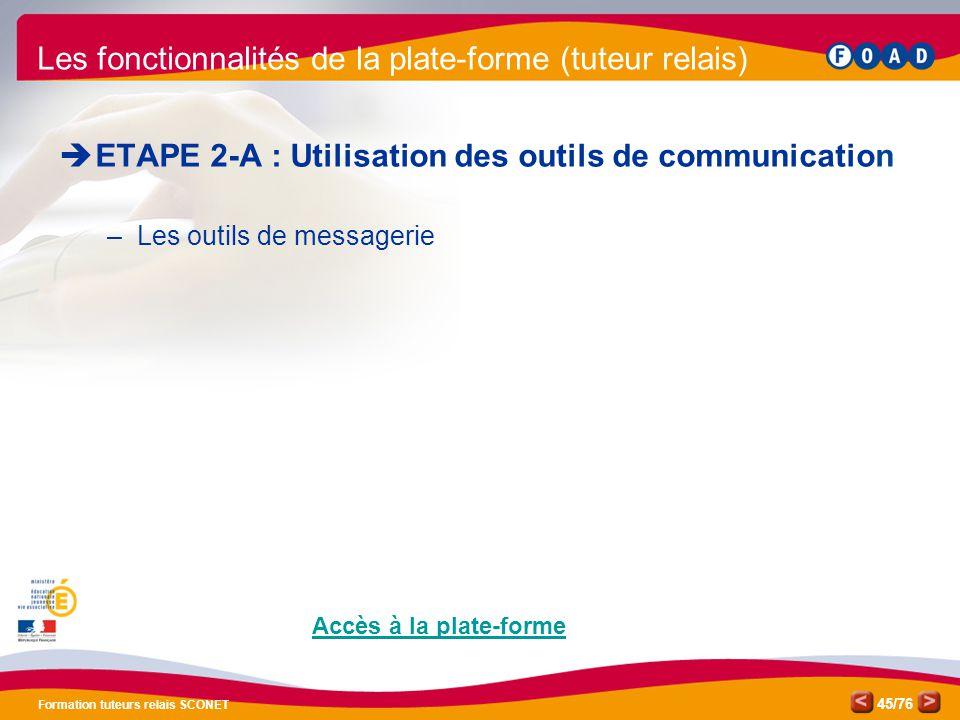 /76 Formation tuteurs relais SCONET 45  ETAPE 2-A : Utilisation des outils de communication –Les outils de messagerie Les fonctionnalités de la plate