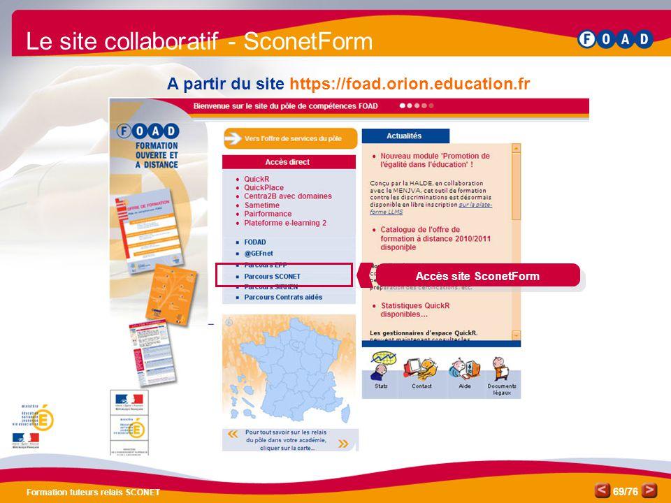 /76 Formation tuteurs relais SCONET 69 A partir du site https://foad.orion.education.fr Le site collaboratif - SconetForm Accès site SconetForm