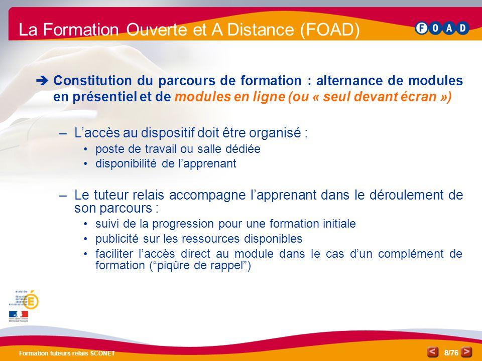 /76 Formation tuteurs relais SCONET 8 La Formation Ouverte et A Distance (FOAD)  Constitution du parcours de formation : alternance de modules en pré