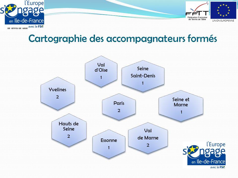 Cartographie des accompagnateurs formés Seine Saint-Denis 1 Val d Oise 1 Paris 2 Seine et Marne 1 Val de Marne 2 Essonne 1 Yvelines 2 Hauts de Seine 2 UNION EUROPENNE