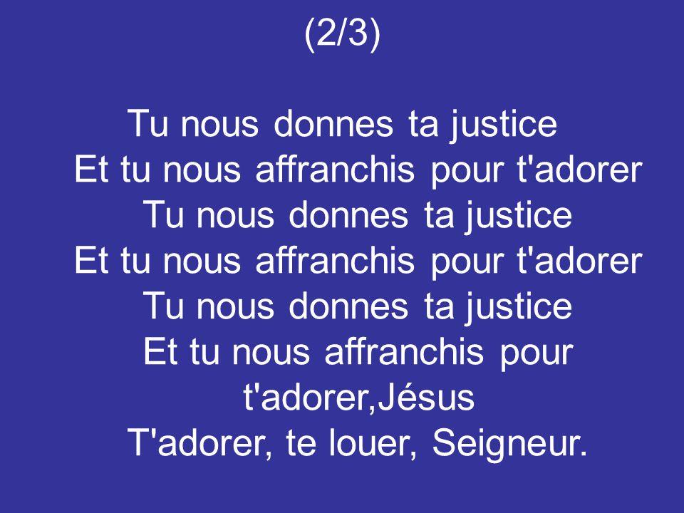 (2/3) Tu nous donnes ta justice Et tu nous affranchis pour t adorer Tu nous donnes ta justice Et tu nous affranchis pour t adorer Tu nous donnes ta justice Et tu nous affranchis pour t adorer,Jésus T adorer, te louer, Seigneur.