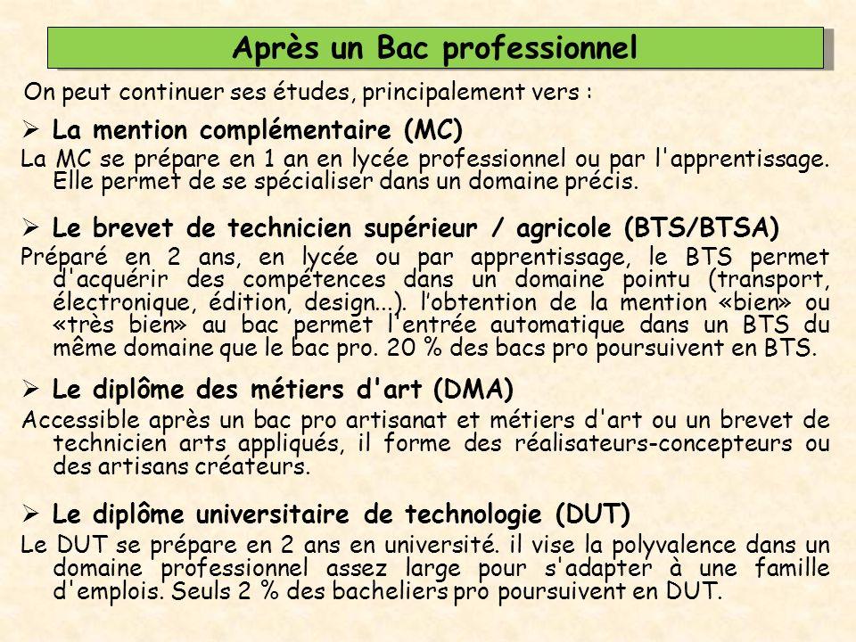 Après un Bac professionnel  La mention complémentaire (MC) La MC se prépare en 1 an en lycée professionnel ou par l'apprentissage. Elle permet de se
