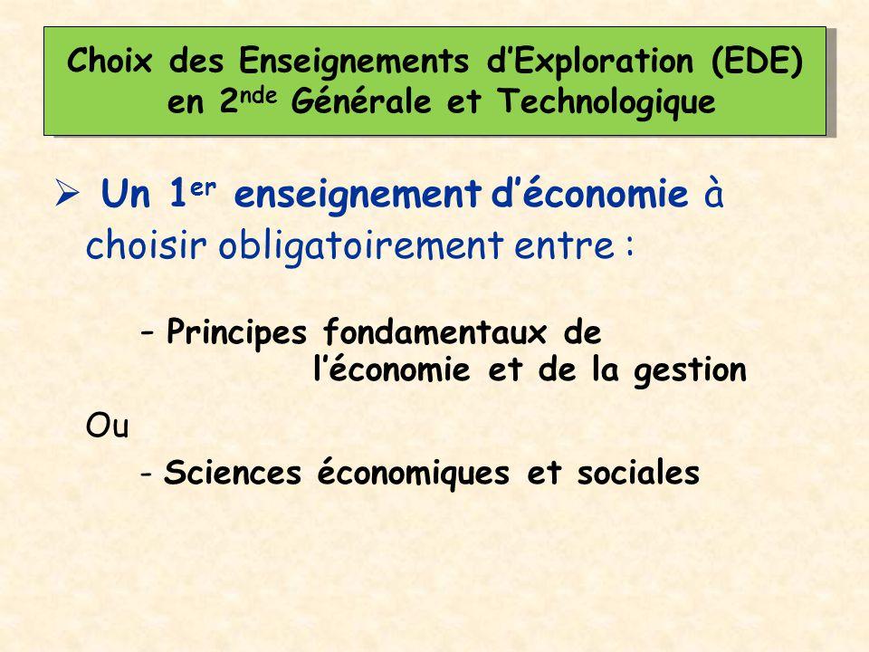  Un 1 er enseignement d'économie à choisir obligatoirement entre : - Principes fondamentaux de l'économie et de la gestion Ou - Sciences économiques