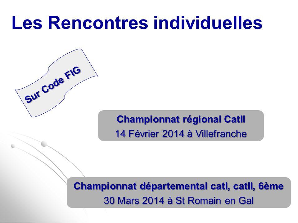Les Rencontres individuelles Championnat régional CatII 14 Février 2014 à Villefranche Championnat départemental catI, catII, 6ème 30 Mars 2014 à St R