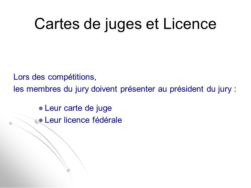 Cartes de juges et Licence Lors des compétitions, les membres du jury doivent présenter au président du jury : Leur carte de juge Leur licence fédéral