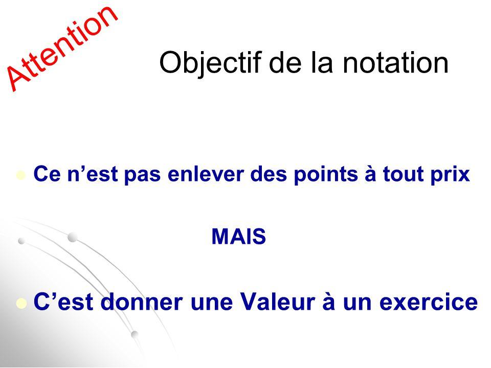 Attention Objectif de la notation Ce n'est pas enlever des points à tout prix MAIS C'est donner une Valeur à un exercice