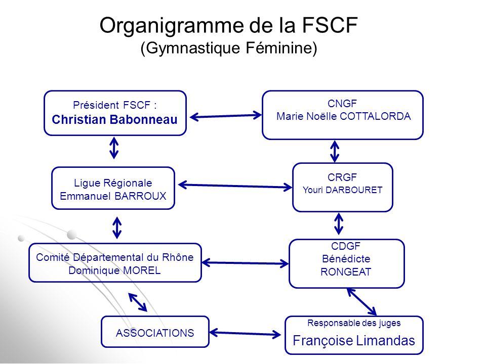 Organigramme de la FSCF (Gymnastique Féminine) Président FSCF : Christian Babonneau Ligue Régionale Emmanuel BARROUX Comité Départemental du Rhône Dom