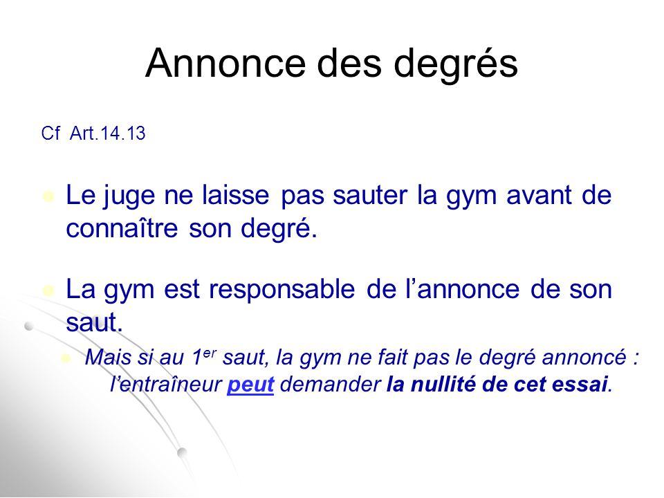 Annonce des degrés Cf Art.14.13 Le juge ne laisse pas sauter la gym avant de connaître son degré. La gym est responsable de l'annonce de son saut. Mai