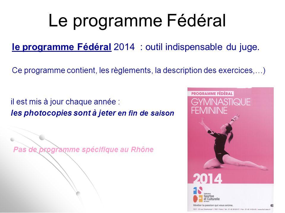 Le programme Fédéral le programme Fédéral 2014 : outil indispensable du juge. Ce programme contient, les règlements, la description des exercices,…) i