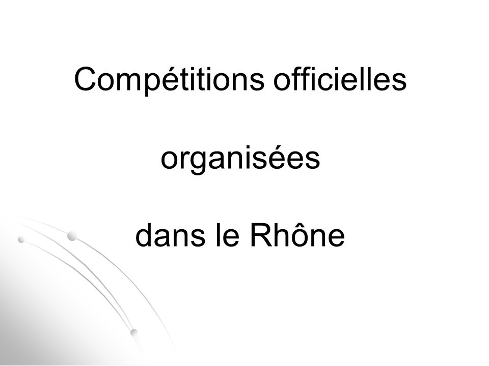 Compétitions officielles organisées dans le Rhône