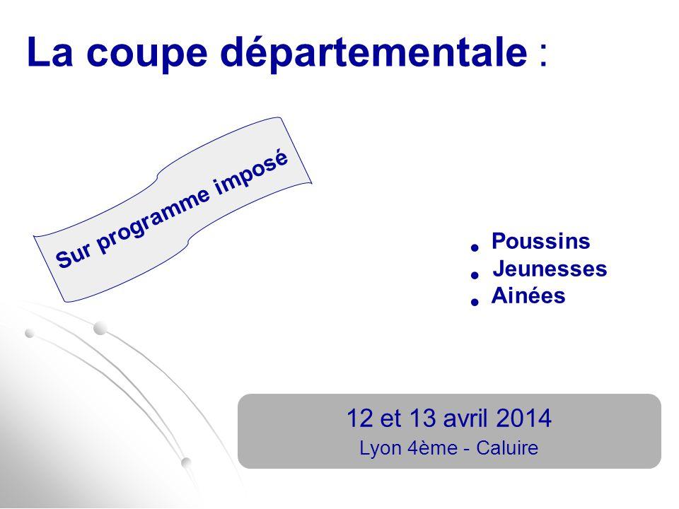 La coupe départementale : 12 et 13 avril 2014 Lyon 4ème - Caluire Poussins Jeunesses Ainées Sur programme imposé