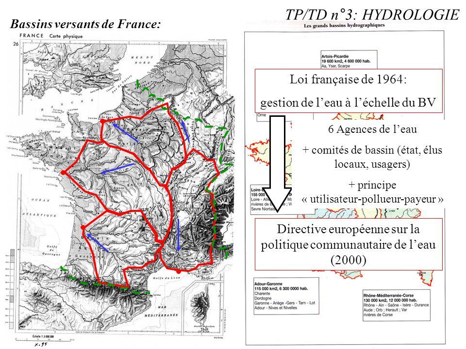TP/TD n°3: HYDROLOGIE Bassins versants de France: Loi française de 1964: gestion de l'eau à l'échelle du BV Directive européenne sur la politique comm