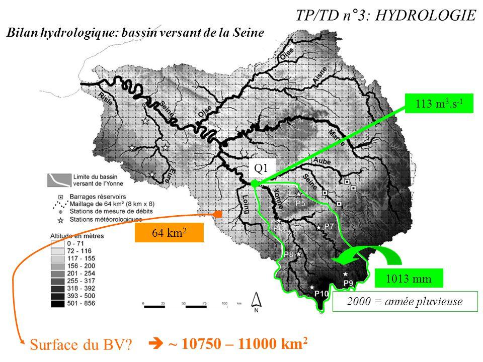 TP/TD n°3: HYDROLOGIE Q1 113 m 3.s -1 1013 mm Bilan hydrologique: bassin versant de la Seine Surface du BV? 64 km 2 2000 = année pluvieuse  ~ 10750 –