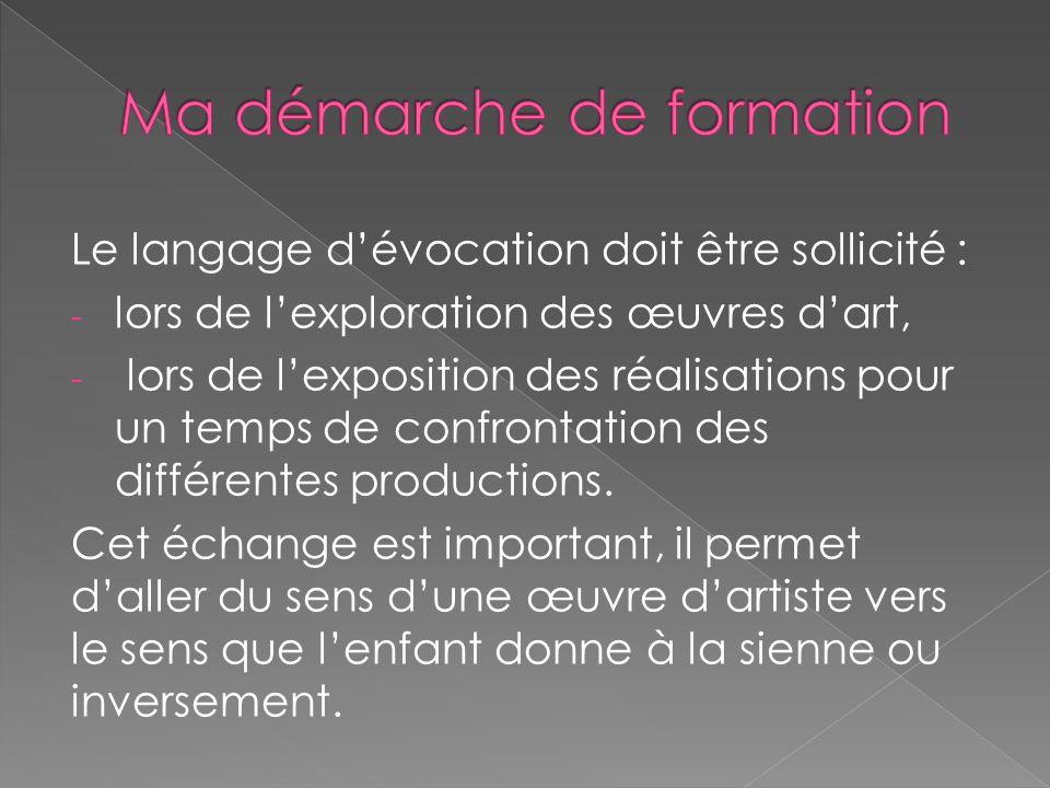 Le langage d'évocation doit être sollicité : - lors de l'exploration des œuvres d'art, - lors de l'exposition des réalisations pour un temps de confro