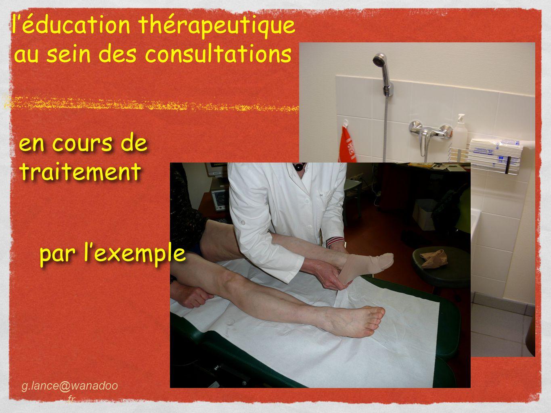 l'éducation thérapeutique au sein des consultations g.lance@wanadoo.fr en cours de traitement en cours de traitement par l'exemple